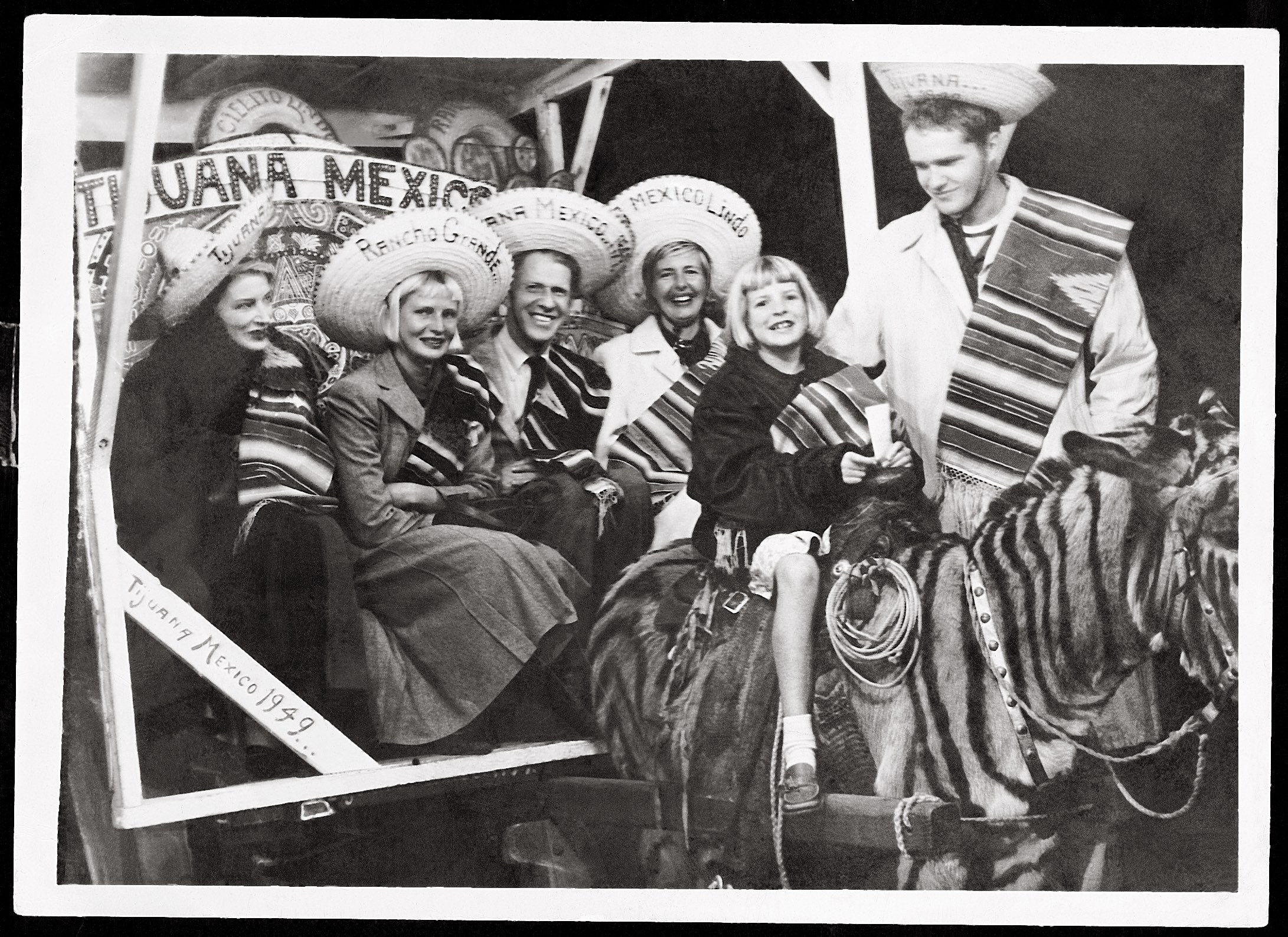 "Tijuana, 1949: Murphy (center) with (from left) second wife Katharine Hawley, daughter Poco Murphy, fourth wife Ginny Bellondi Murphy, daughter Christopher ""Kit"" Murphy, and son, Michael ""Pat"" Murphy Courtesy the Murphy Family Collection"